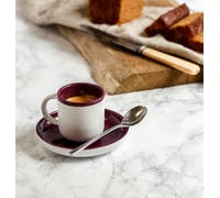 La Cafetiere Barcelona Plum 125ml Espresso Cup and Saucer