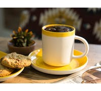 La Cafetiere Barcelona Mustard 300ml Coffee Cup and Saucer