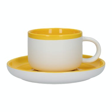 La Cafetiere Barcelona Mustard 250ml Tea Cup And Saucer
