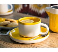 La Cafetiere Barcelona 290ml Tea Cup And Saucer Mustard