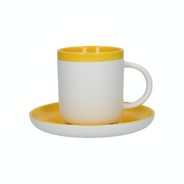 La Cafetiere Barcelona Mustard Ceramic 125ml Espresso Cup and Saucer
