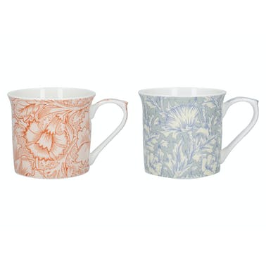 Victoria And Albert Horn Poppy Set Of 2 Palace Mugs