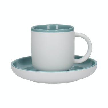 La Cafetiere Barcelona Retro Blue 300ml Coffee Cup and Saucer