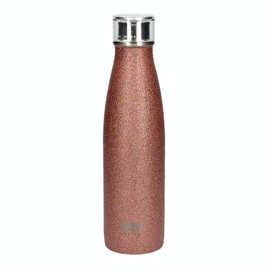 Built 500ml Double Walled Stainless Steel Water Bottle Rose Gold Glitter