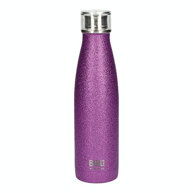 Built 500ml Double Walled Stainless Steel Water Bottle Purple Glitter