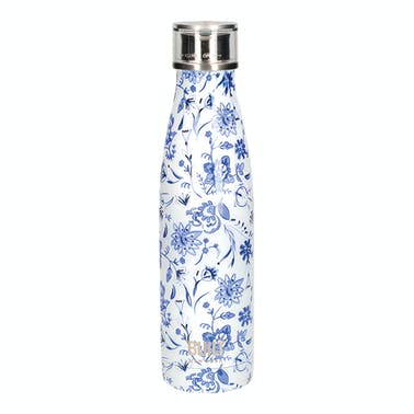 Built 500ml Double Walled Stainless Steel Water Bottle Blue Floral