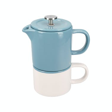 La Cafetière Barcelona 400ml Ceramic Coffee for One Retro Blue