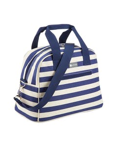 Photo of KitchenCraft Lulworth 11.5 Litre Blue Stripe Holdall Style Cool Bag