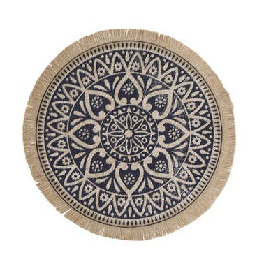 Creative Tops Set of 4 Jute Placemats with Mandala Design, Natural Printed Hessian Round Table Mats,  41cm