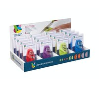 Colourworks Brights Display of 16 Assorted Coloured 2 Stage Compact Knife Sharpeners