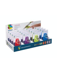 Photo of Colourworks Brights Display of 16 Assorted Coloured 2 Stage Compact Knife Sharpeners