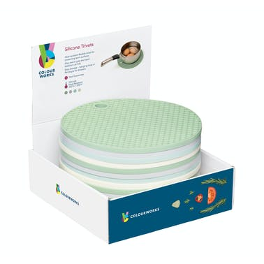 Colourworks Classics Silicone 20cm Round Trivets - Display of 16