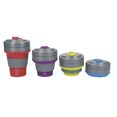 Colourworks Brights Counter Top Display of Twelve 350ml Silicone Collapsible Travel Mugs