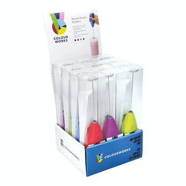 Colourworks Display of 12 Electric Drink Frothers