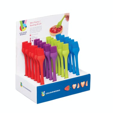 Colourworks Brights Display of 24 Assorted Coloured Silicone Mini Pastry Brushes
