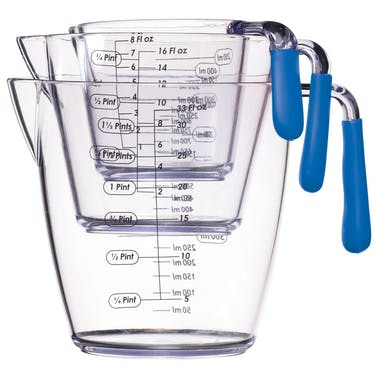 Colourworks 3 Piece Blue Acrylic Measuring Jug Set