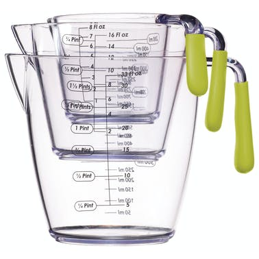 Colourworks 3 Piece Green Acrylic Measuring Jug Set