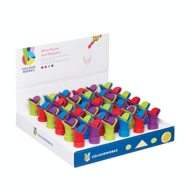 Colourworks Display of 36 Wine Pourers & Stoppers