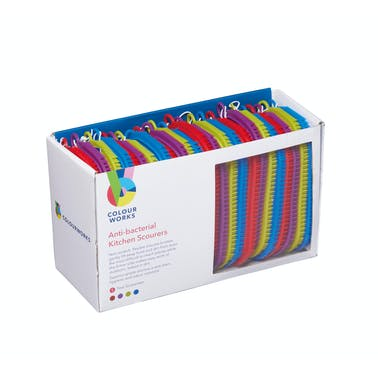 Colourworks Brights Display of 24 Anti-Bacterial Kitchen Scourers