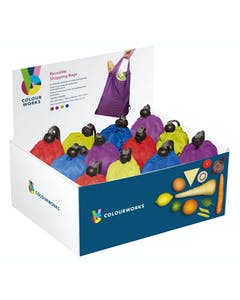 Photo of Colourworks Display of 24 Fold Out Reusable Shopping Bags