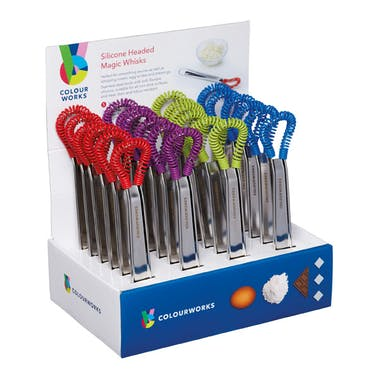 Colourworks Brights Display of 24 Assorted Coloured Silicone Headed Magic Whisks