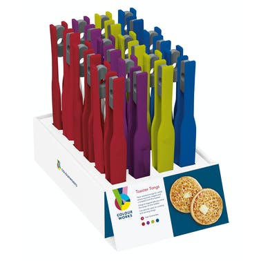 Colourworks Display of 24 Assorted Coloured Toaster Tongs