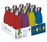 Colourworks Display of 12 350ml Insluated Vacuum Drinks Bottles