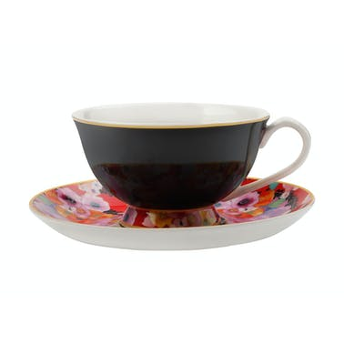 Maxwell & Williams Cashmere Bloems Tea Cup And Saucer Black