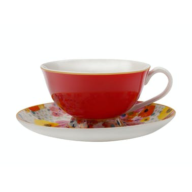 Maxwell & Williams Cashmere Bloems Tea Cup And Saucer Red