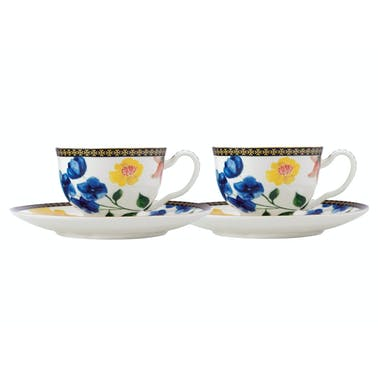 Maxwell & Williams Tea's & C's Contessa Set of 2 Demi Cup And Saucers White