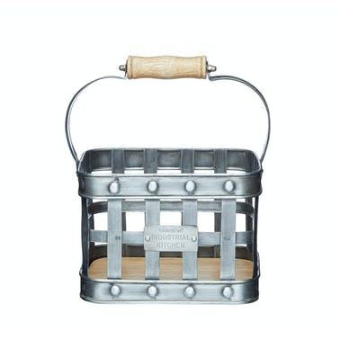 Industrial Kitchen Metal and Mango Wood Condiment Caddy