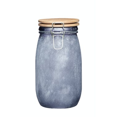Industrial Kitchen Large Glass Storage Jar with Acacia Lid