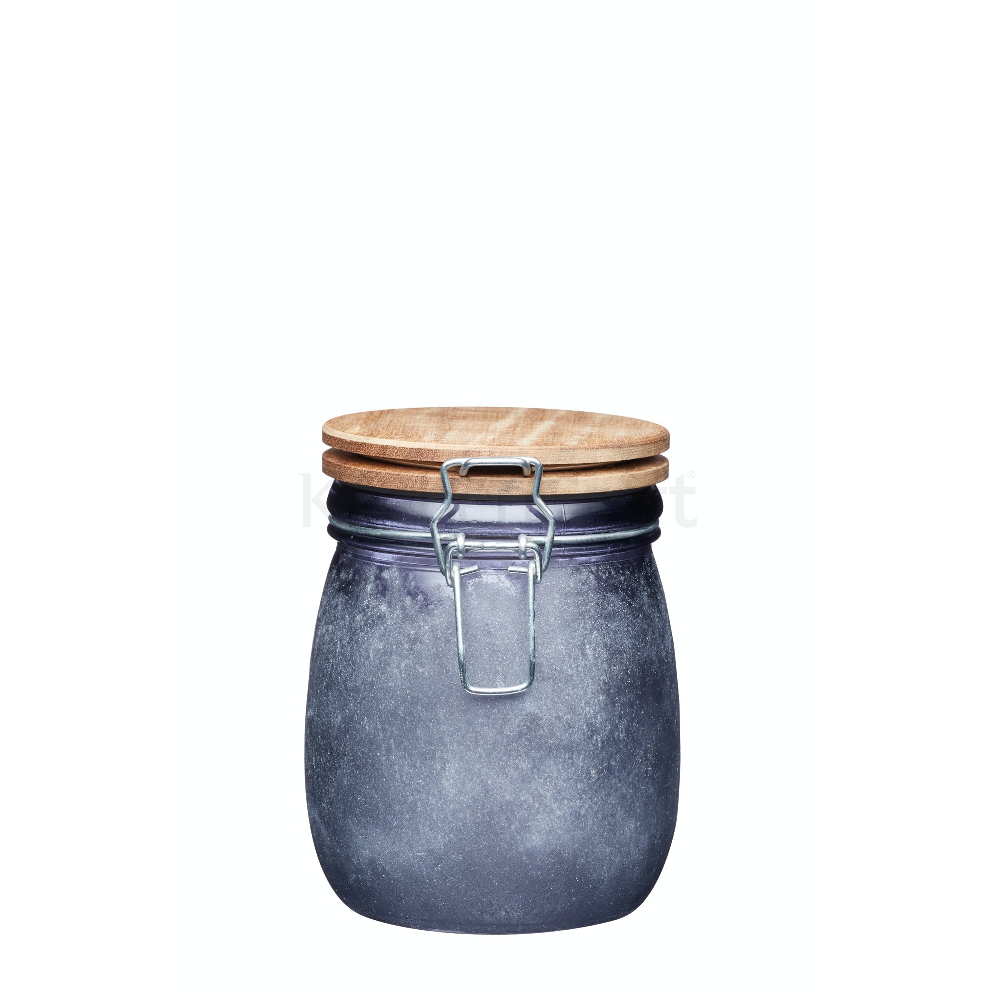 Small Gl Storage Jar With Acacia Lid