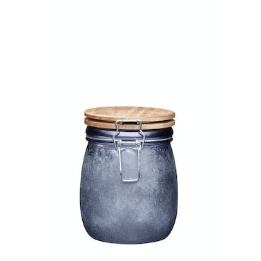 Industrial Kitchen Small Glass Storage Jar with Acacia Lid