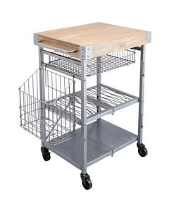 Photo of Industrial Kitchen Folding Kitchen Trolley with Mango Wood Butcher's Block