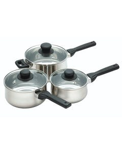 Photo of KitchenCraft Stainless Steel Three Piece Saucepan Set