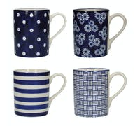 London Pottery Set Of 4 Mugs Straight Blue