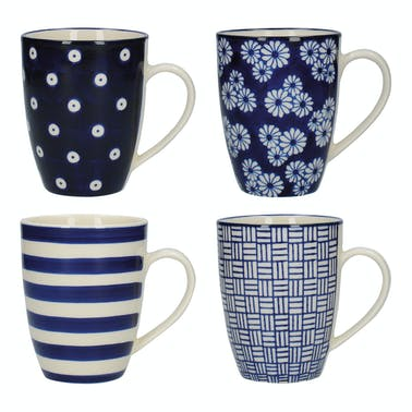 London Pottery Set Of 4 Tulip Mugs Blue