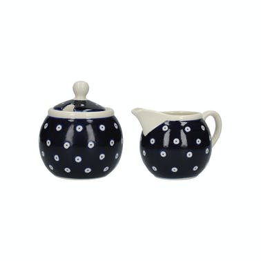 London Pottery Sugar and Creamer Set Blue and White Circle
