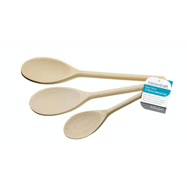 KitchenCraft Set of Three Beech Wood Spoons