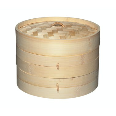 KitchenCraft World of Flavours Oriental Medium Two Tier Bamboo Steamer and Lid