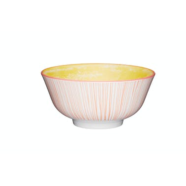 KitchenCraft Pink Stripe and Yellow Swirl Ceramic Bowls