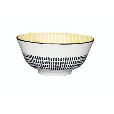 KitchenCraft Moroccan Style Yellow Stripe Ceramic Bowls