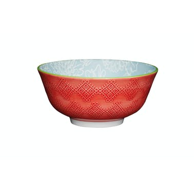 KitchenCraft Leaf Print and Terracotta Look Ceramic Bowls