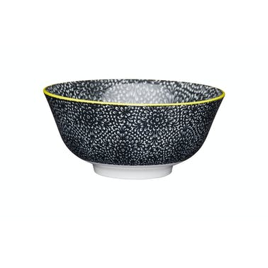KitchenCraft Black and White Floral Ceramic Bowls