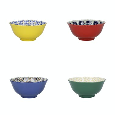 KitchenCraft Patterned Cereal Bowl Set in Gift Box, Ceramic, 'World of Flavours' Designs, 15cm, 4 Pieces
