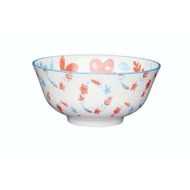 KitchenCraft Painted Blue & Red Floral Ceramic Bowls