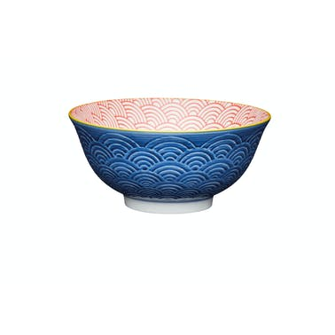 KitchenCraft Blue Arched Pattern Ceramic Bowls