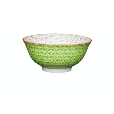 KitchenCraft Bright Green Geometric Print Ceramic Bowls