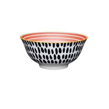KitchenCraft Red Swirl and Black Spots Ceramic Bowls